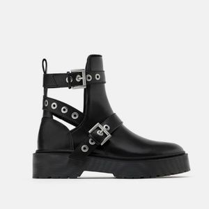 Zara biker ankle boots with cut outs